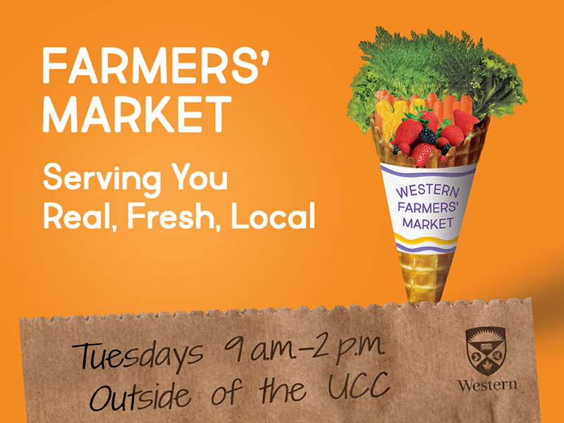 Farmer's Market. Tuesdays 9am - 2pm, outside of the UCC.